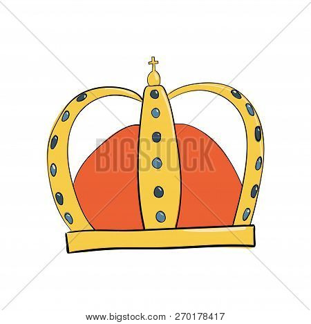 Monarch Crown With Gems And Diamonds . A Symbol Of Authority. Headpiece Of The King. Icon Denoting S