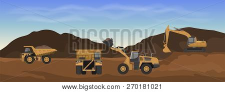Career Machinery. Wheel Loader, Excavator And Dumper In Mine. Industrial Landscape. Earth Work Panor