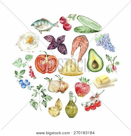 Healthy Food Circle Banner Of Low Carb Keto Ketogenic Product In Watercolor Style. Collection Of Wat
