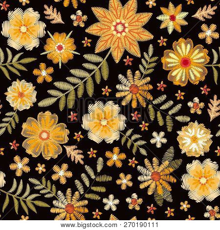 Embroidery Seamless Pattern With Different Yelowl Flowers On Black Background. Fashion Design For Fa
