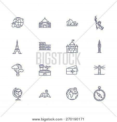 World Sightseeing Tour Icons. Set Of Line Icons. Tourism, Map, Building Travel Concept. Vector Illus