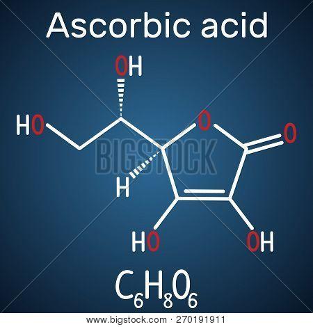 Ascorbic Acid (vitamin C). Structural Chemical Formula And Molecule Model On The Dark Blue Backgroun
