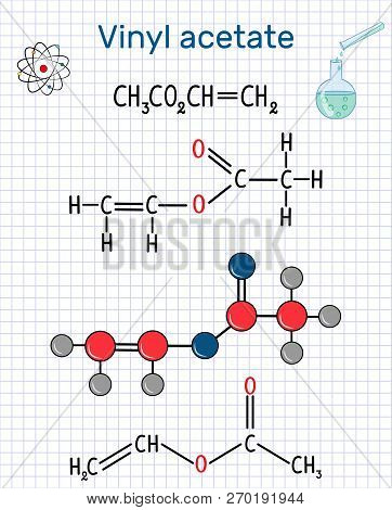 Vinyl Acetate Molecule. It Is The Precursor To Polyvinyl Acetate (pva) . Sheet Of Paper In A Cage. S