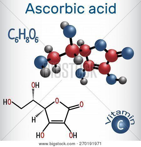 Ascorbic Acid (vitamin C). Structural Chemical Formula And Molecule Model. Vector Illustration