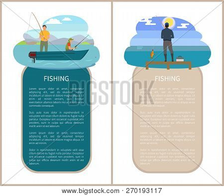 Fishery Sport And Recreation Nature Poster. Vector Fishermen On Motorboat On River And Back View Fis