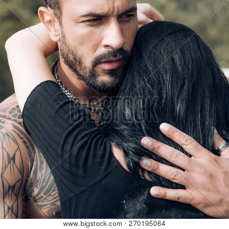 Sensual Couple Kiss. I Love You. Couple In Love. Intimate Relationship And Sensual Relations. Domina