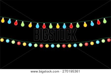 Set Of Color Garlands, Christmas Decorations Lights Effects.  Glowing Lights For Christmas Vector Il