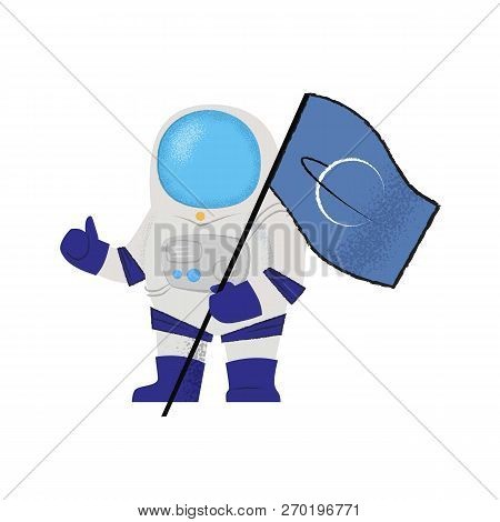 Spaceman Showing Flag And Thumbs-up. Explorer, Pioneer, Mission. Can Be Used For Topics Like Success