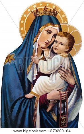 Mary Nazareth  Orthodox Church Baby Jesus Theotokos Holy Illustration