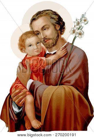 Saint Joseph Baby Jesus Faith Christ Religion Illustration