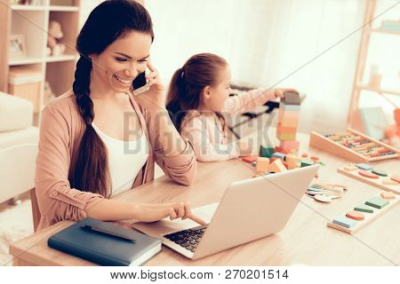 Mother Working At Home. Educational Games. Learning Child At Home. Child Development. Board Games Fo