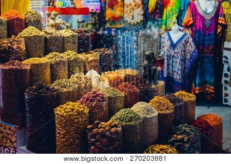Spices. Various Indian Spices Colorful Background. Spice And Herbs Backdrop. Assortment Of Seasoning