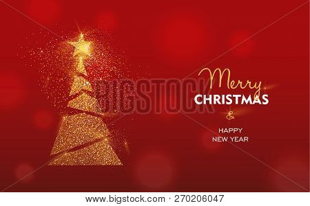 Merry Christmas And Happy New Year Luxury Greeting Card Illustration, Xmas Pine Tree Made Of Gold Gl