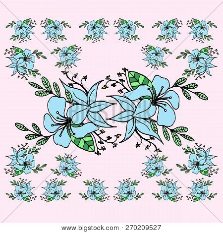 Vector Floral Set.colorful Purple Floral Collection With Leaves And Flowers,drawing Watercolor.color