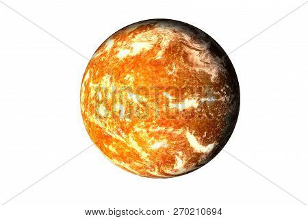 Orange Planet With Burning Magmatic Surface And Gas Atmosphere Isolated. Science Fiction. Elements O
