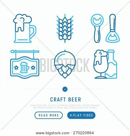 Craft Beer Thin Line Icons Set: Mag With Foam,  Wheat, Bottle Opener, Manufacturing, Brewing, Tulip