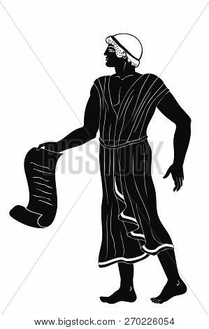 Ancient Greek Man With A Papyrus Scroll In His Hands. Figure Isolated On White Background.
