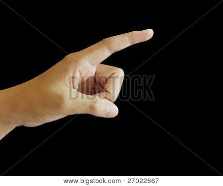 Hand pointing touching