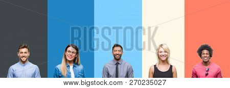 Collage of group of young people over colorful vintage isolated background with a happy and cool smile on face. Lucky person.