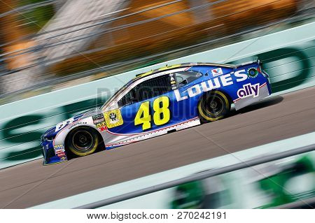 November 17, 2018 - Homestead, Florida, USA: Jimmie Johnson (48) brings his race car down the front stretch during practice for the Ford 400 at Homestead-Miami Speedway in Homestead, Florida.