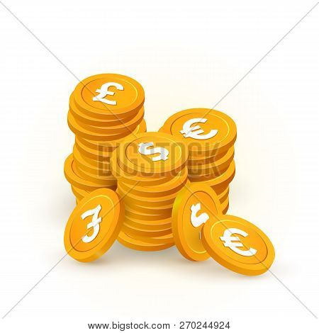 Gold Stacks Of Coin With Pound, Dollar, Euro Signs Isolated Vector Design Elements. Collection Of Di