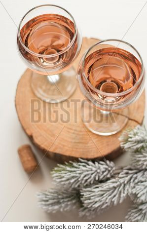 Transparent Glass Of Wine. Pink Wine. Festive Mood. Alcohol For A Group Of Friends. Delicious Drink.