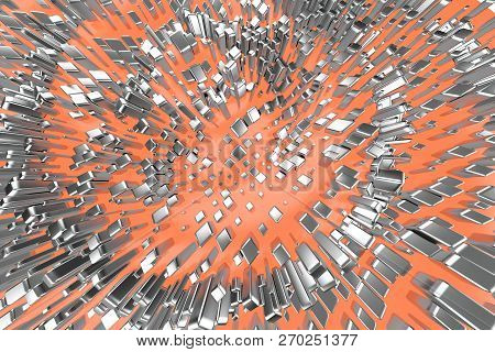 Silver or white gold platinum blocks cubes over light pink orange wave background. Modeling 3d illustration. wealth rich mining bitcoin concept . Money growing business finance success clipart poster