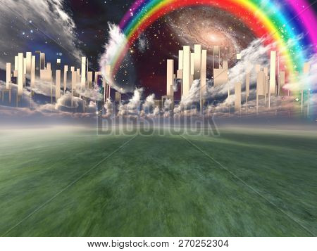Heavenly City in clouds. Rainbow and galaxies in the sky. 3D rendering