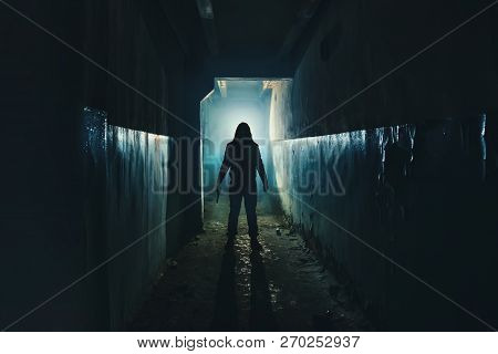 Silhouette Of Man Maniac Or Killer Or Horror Murderer With Knife In Hand In Dark Creepy And Spooky C
