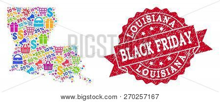 Black Friday Composition Of Mosaic Map Of Louisiana State And Rubber Stamp. Vector Red Imprint With