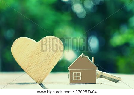 Home Key With House Keychain And Wooden Heart Mock Up On Vintage Wood Background, Home Sweet Home Co