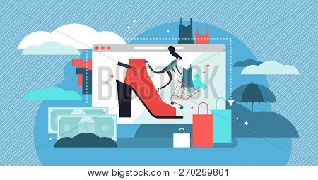Fashion Vector Illustration. Shopping In Store Online To Get Trendy Clothes. Industry That Sell Shoe