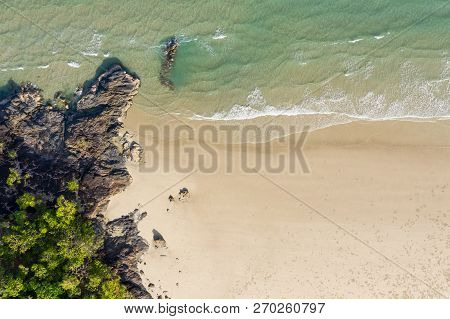 An Aerial View Of Noah Beach Daintree Region In Afr North Queensland. Angled Directly Down. This Str