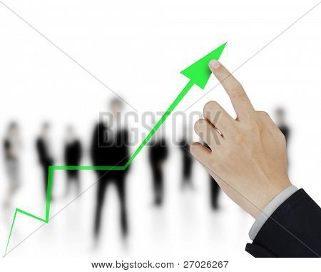 hand and business graph