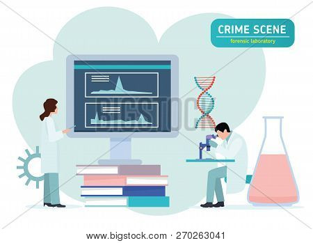 Criminologist Laboratory Assistant Looking Through A Microscope In A Laboratory. Forensic Laboratory