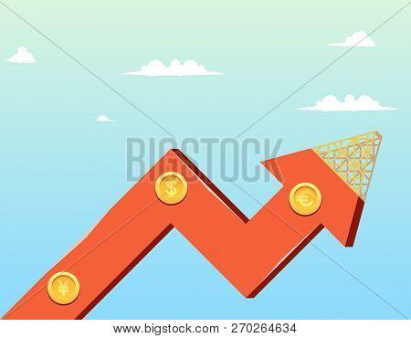 Vector Illustration Cartoon Growth Company Economy. Image Growth Graph Construction Company Economy