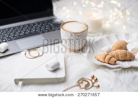 Lady Bloggers White Work Place With Business Details, Laptop, Co