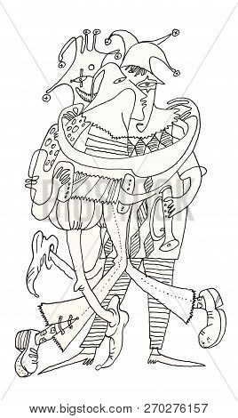 Three Funny Clowns - It Is Cartoon And Black-white Ink Funny Drawing