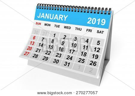2019 Year Calendar. January Calendar On A White Background. 3d Rendering