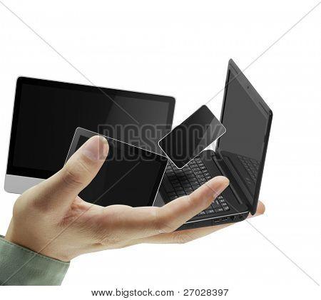 Handys und Laptops in der hand