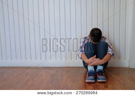 Depressed Upset Sad Asian Kid Boy Child Children Sitting On Floor