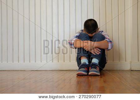 Depressed Upset Sad Asian Kid Boy Child Children Sitting On Floor