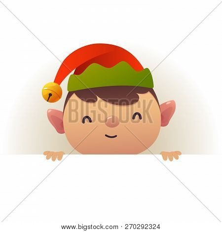 Christmas Cute Elf Standing Behind Blank Signboard Advertisement Banner With Copy Space Vector