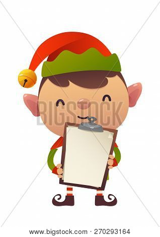 Cute Christmas Elf Holds In His Hands Blank Isolated Vector