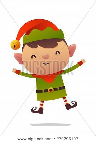 Cheerful Cartoon Cute Christmas Elf Jumps Isolated On White Background Vector