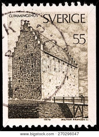 Luga, Russia - January 31, 2018: A Stamp Printed By Sweden Shows View Of The Glimmingehus Castle Loc