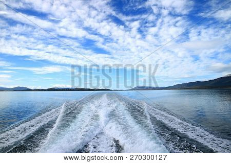 Powerful Foaming Water At The Stern Of Cruise Ship Cruising The Beagle Channel, Ushuaia, Tierra Del