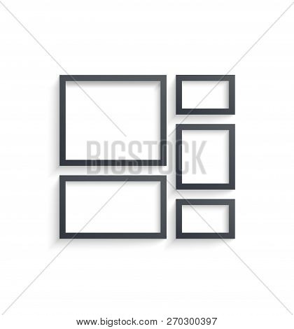 Wall Picture Frame Templates Isolated On White Background. Blank Photo Frames With Shadow And Border