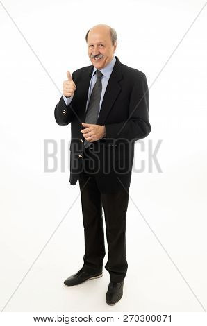 Full Body Portrait Of Happy Confident Senior Businessman