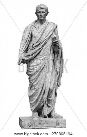 Caesar Octavianus Augustus roman emperor adopted son of Julius Caesar. Isolated statue on white.